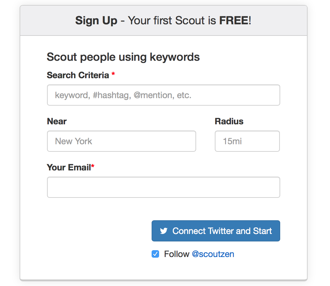 Scout with Twitter Advanced Search